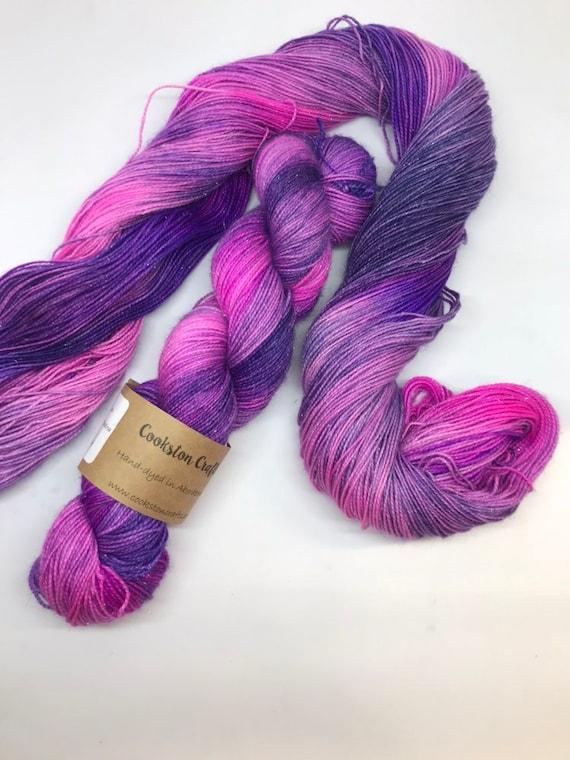 Galaxy - 100g Superwash Merino / Nylon / Silver Stellina Sparkle Sock Yarn 4 ply, fingering, hand dyed Blue, Purple, navy, pink
