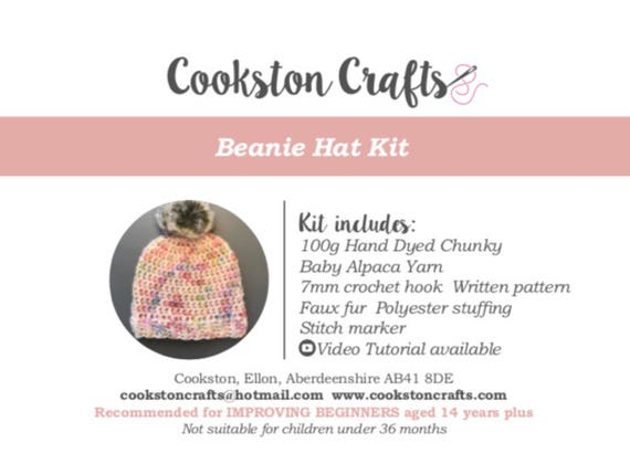 Crochet Kit - Chunky Baby Alpaca Beanie Hat Kit designed and produced in Scotland, includes faux fur pom pom, video tutorial available