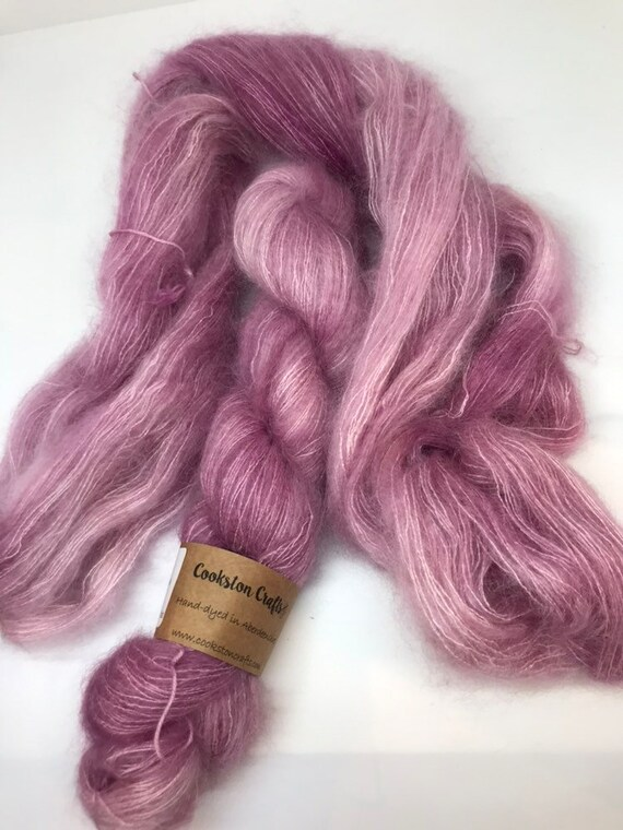 Rose - 50g Kid Mohair / Silk 72/28 % lace weight hand dyed in Scotland, blush pink