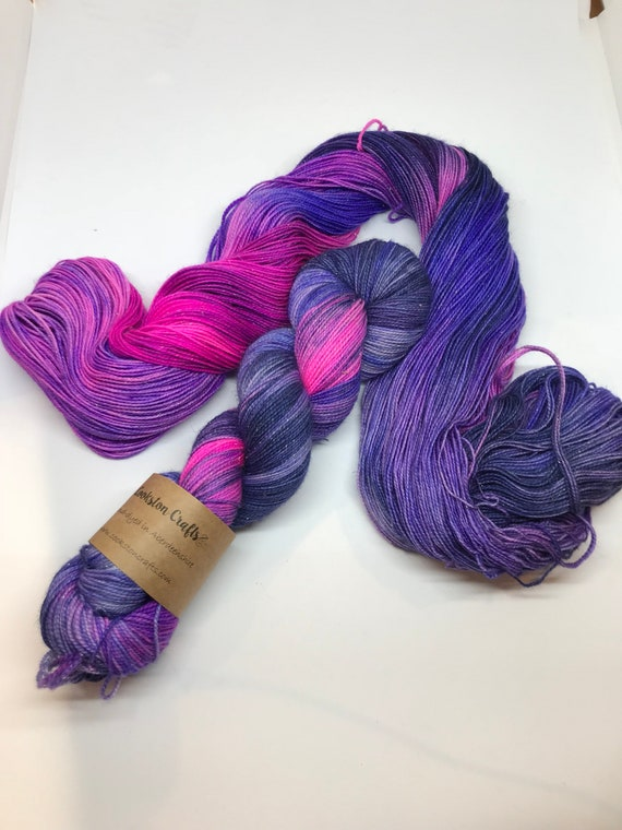 Galaxy - 100g Superwash Merino / Nylon / Silver Stellina Sparkle Sock Yarn 4 ply, fingering, hand dyed Blue, Purple, navy, pink
