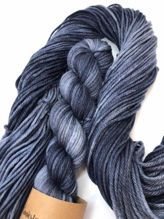 Ink Blot - 50g 100% Superwash Merino DK double knit yarn, hand dyed in Scotland, variegated, grey, navy