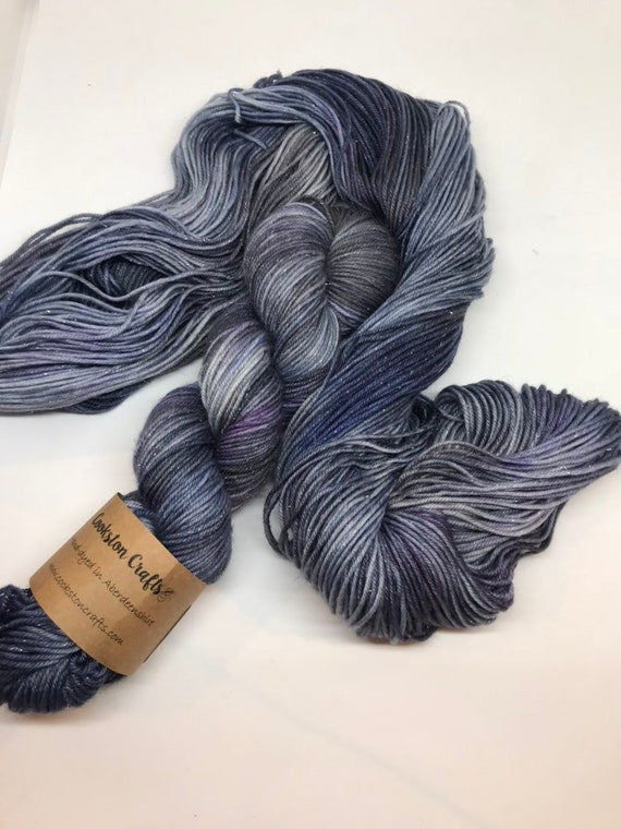 Starry Night - 100g 75/20/5% Superwash Merino/ Nylon / Silver Stellina, DK double knit yarn, hand dyed in Scotland, grey purple navy