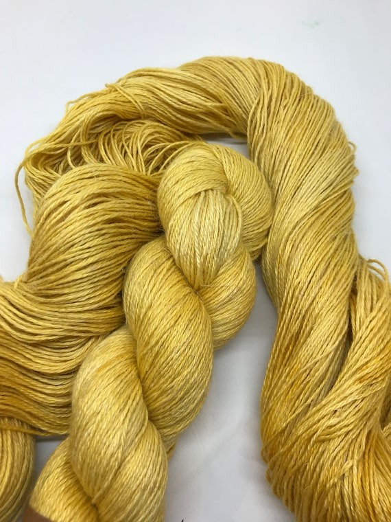 "100g 50/25/25 Baby Alpaca / Silk / Linen Sock Yarn 4 ply, fingering, hand dyed in Scotland, ""mustard"" yellow"