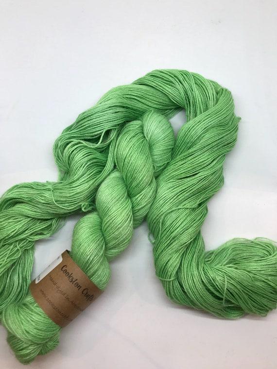 """100g 50/25/25 Baby Alpaca / Silk / Linen Sock Yarn 4 ply, fingering, hand dyed in Scotland, """"bottle"""" green"""