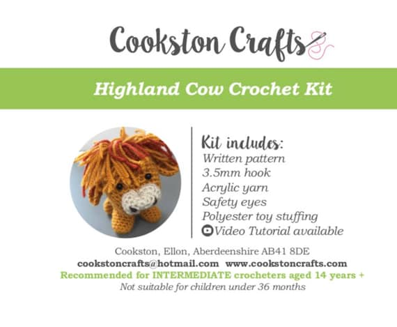 Crochet Kit - Highland Cow, designed and produced in Scotland, amigurumi, video tutorial available