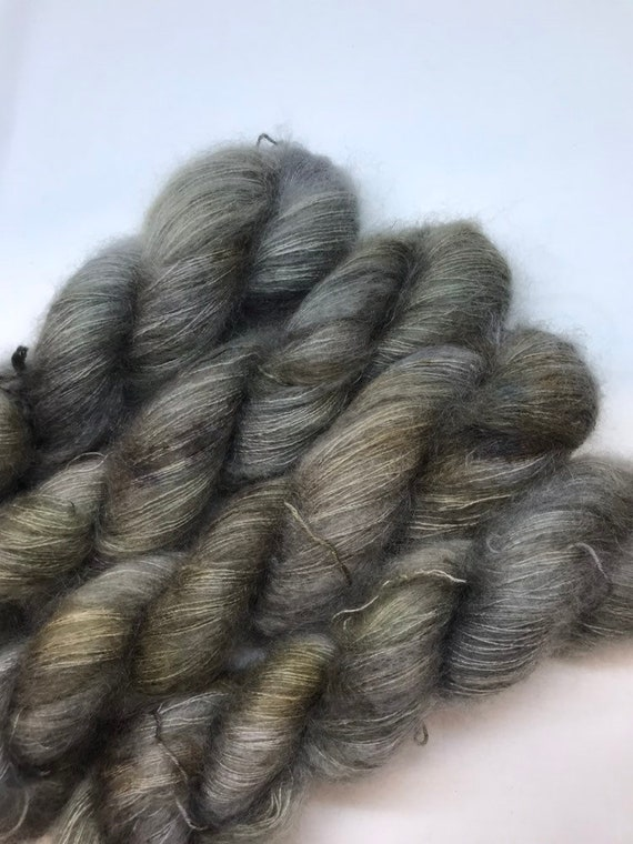 Murtagh - 50g Kid Mohair / Silk 72/28 % lace weight hand dyed in Scotland, grey brown variegated outlander