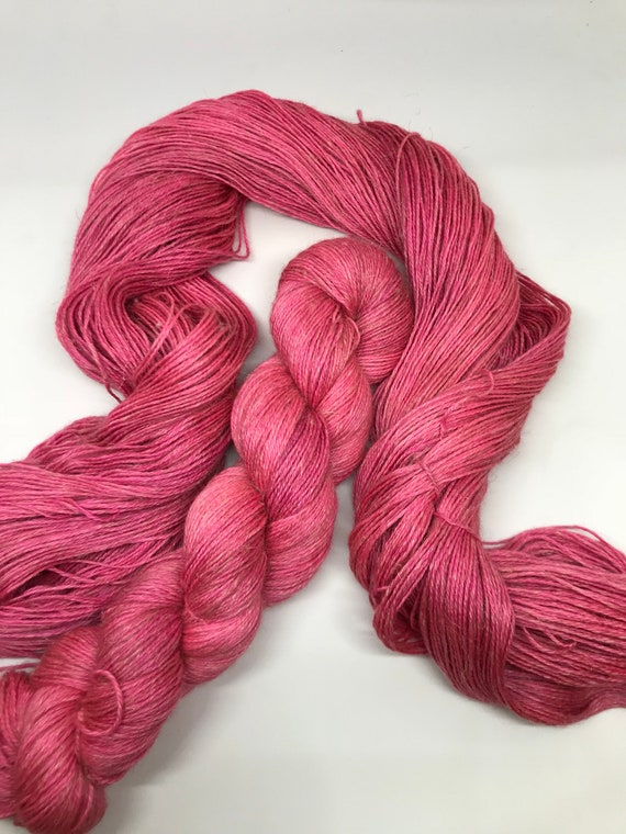 Fuschia - 100g 50/25/25 Baby Alpaca / Silk / Linen Sock Yarn 4 ply, fingering, hand dyed in Scotland, coral pink tonal