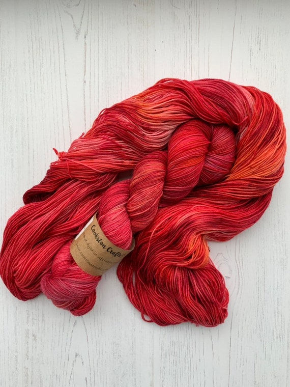Ruby Rain - 100g Superwash Merino / Nylon Sock Yarn 4 ply, fingering, hand dyed in Scotland, red, yellow, orange, speckled