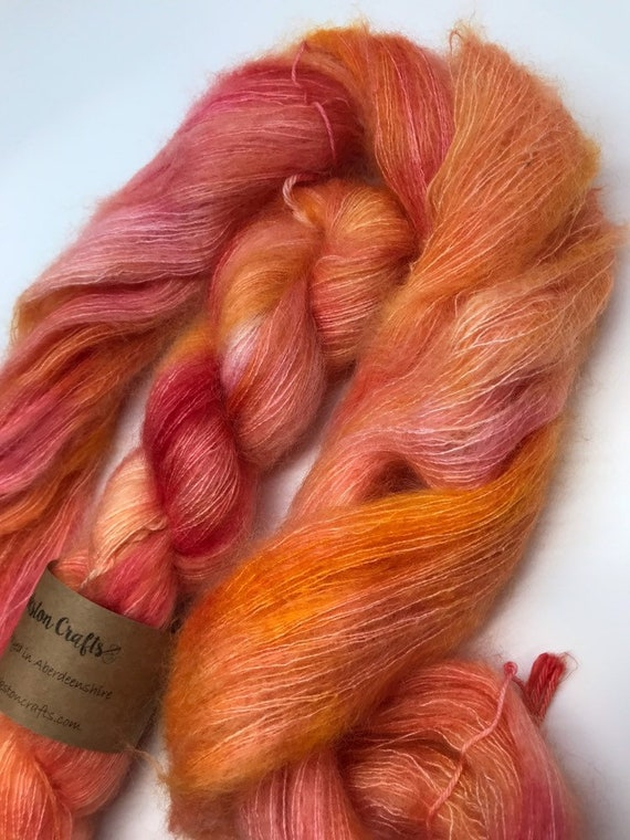 Peony - 50g Kid Mohair / Silk 72/28 % lace weight hand dyed in Scotland, orange, pink variegated