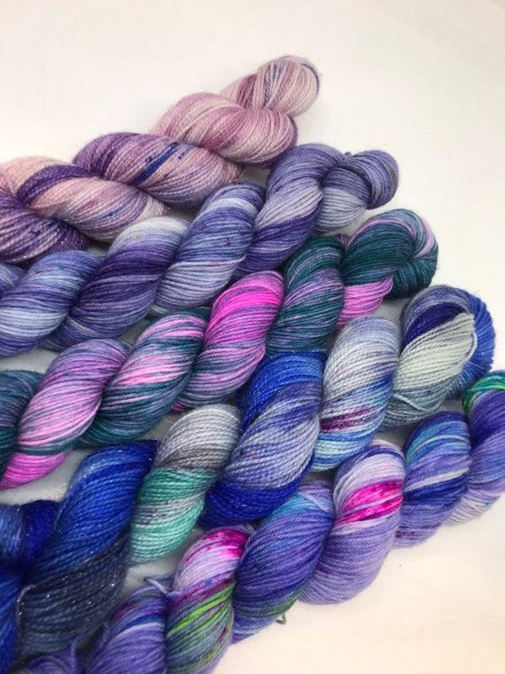 Blue fade set - 250g Superwash Merino / Nylon Sock Yarn 4 ply, fingering, hand dyed blue, purple, pink