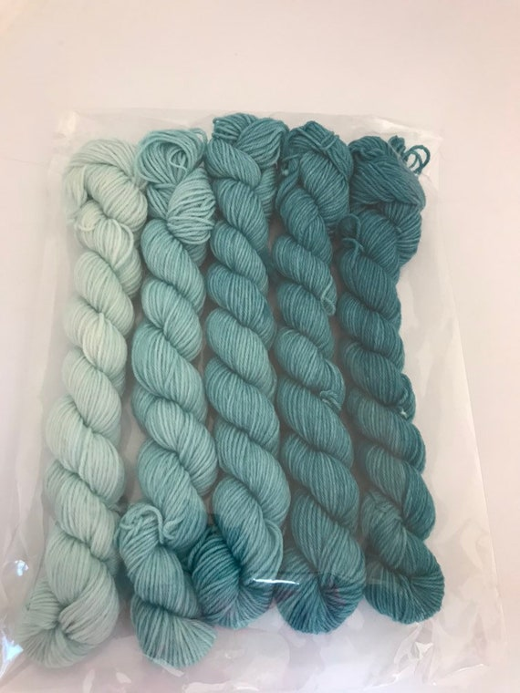 5 x 20g Mini Skein set 75/25 superwash merino/nylon, sock, 4 ply, fingering, hand dyed, teal fade