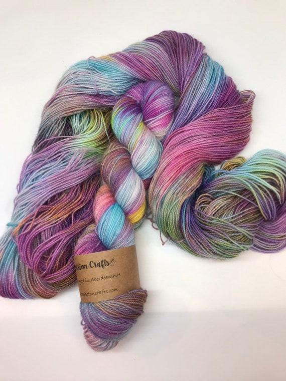 Dreamer - 100g Superwash Merino / Nylon / Gold Stellina Sparkle Sock Yarn 4 ply, fingering, hand dyed pink, orange, turquoise, purple