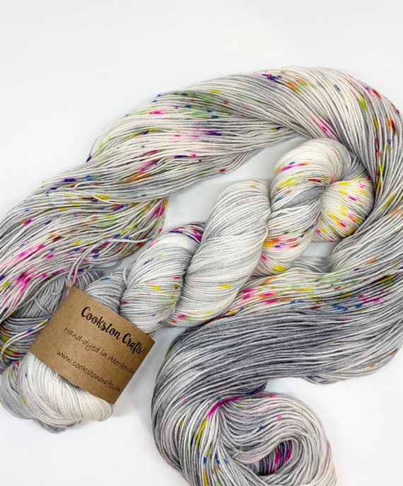 Gobstopper - 100g Superwash Merino / Nylon Sock Yarn 4 ply, fingering, hand dyed in Scotland, white, grey, multi speckle spots rainbow