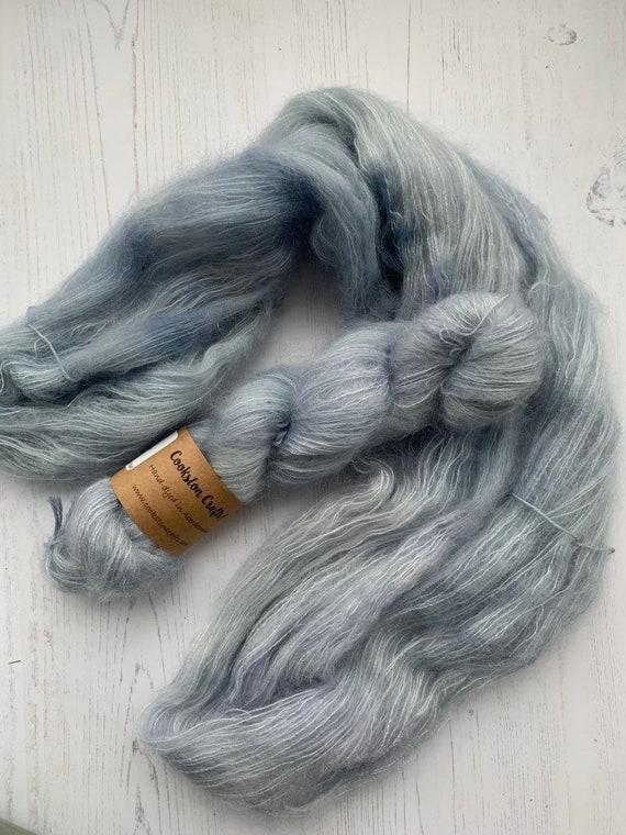 Cloud- 50g Kid Mohair / Silk 72/28 % lace weight hand dyed in Scotland, pale pastel blue