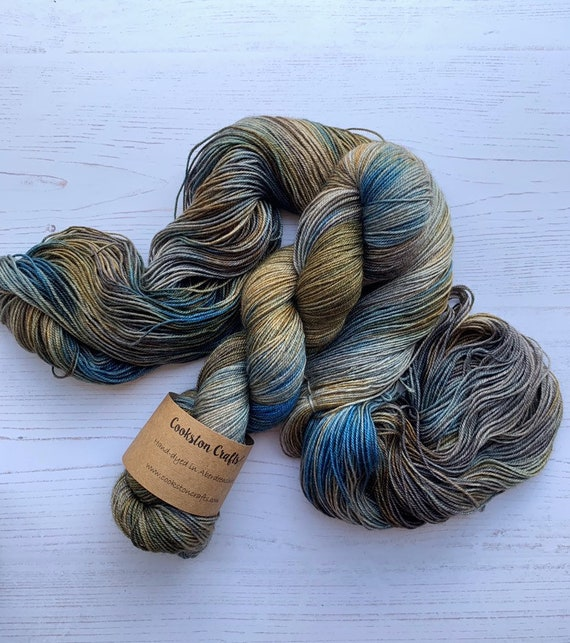 PRE ORDER Mackenzie  - 100g 60/20/20 Superwash Merino / Silk / Yak Sock Yarn 4 ply, fingering, hand dyed in Scotland, blue, grey, khaki oliv