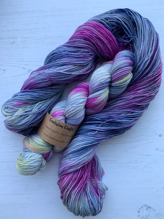 Ally Bally - 100g Superwash Merino / Nylon / Gold Stellina Sparkle Sock Yarn 4 ply, fingering, hand dyed blue pink yellow