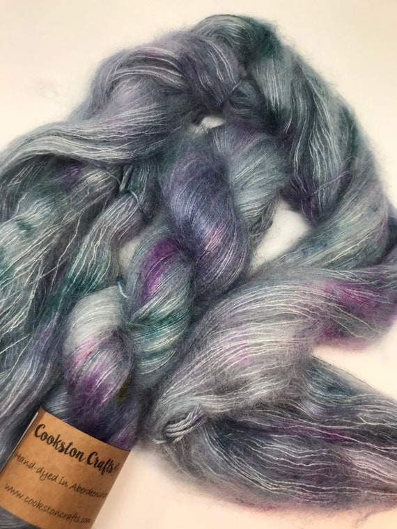 Crathie - 50g Kid Mohair / Silk 72/28 % lace weight hand dyed in Scotland, teal green, mint, purple