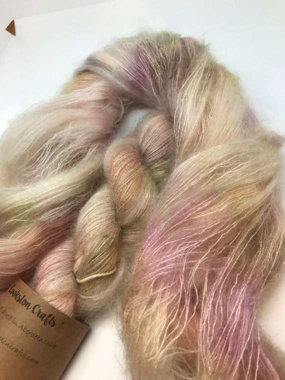 French Romance - 50g Kid Mohair / Silk 72/28 % lace weight hand dyed in Scotland, pink, green beige, pastel, outlander