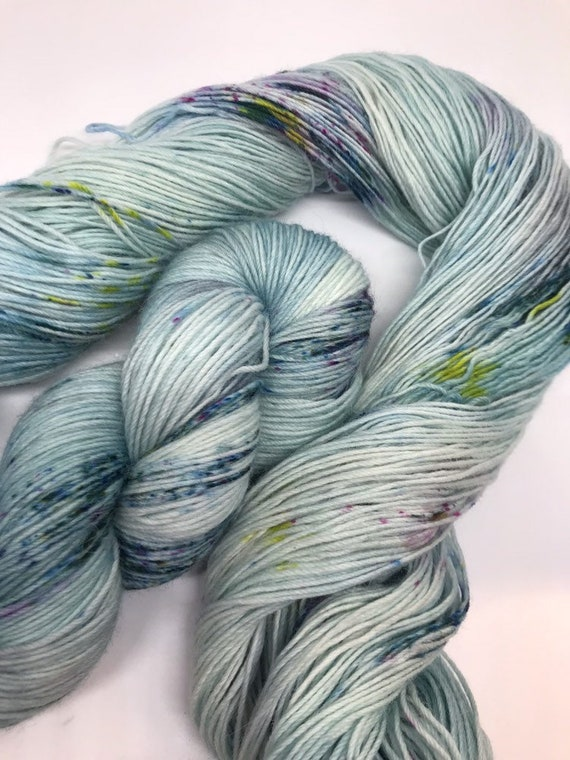 Crathie - 100g Superwash Merino / Alpaca / Nylon Yarn 4 ply, fingering, sock, hand dyed in Scotland, turquoise aqua speckles