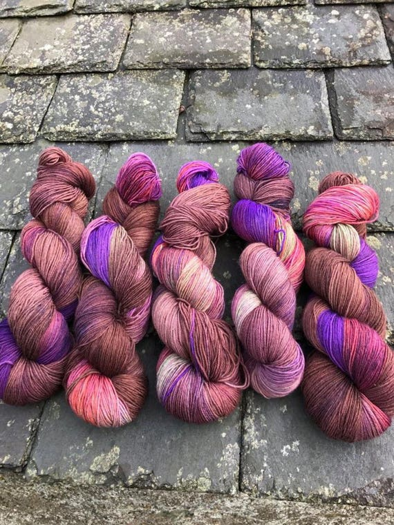 SALE- 100g Superwash Merino / Nylon Sock Yarn 4 ply, fingering, hand dyed, brown, purple, green, orange, variegated, autumnal, deep dark woo