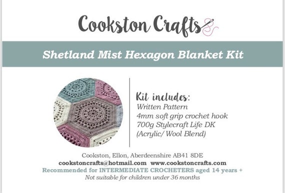 Blanket Kit, Shetland Mist Crochet Blanket pattern, 7 or 14 x 100g Stylecraft Life Double Knit Yarn and soft grip crochet hook