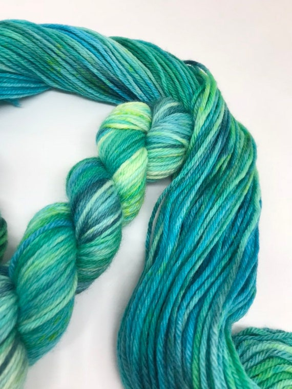 Earth - 50g 100% Superwash Merino DK double knit yarn, hand dyed in Scotland, variegated, green, blue planets