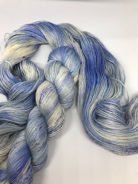 Delft - 100g 50/25/25 Baby Alpaca / Silk / Linen Sock Yarn 4 ply, fingering, hand dyed in Scotland, blue variegated speckles