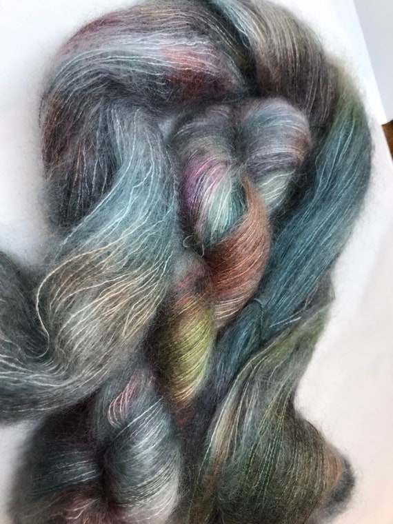 Outlander - 50g Kid Mohair / Silk 72/28 % lace weight hand dyed in Scotland, grey, green, bronze teal variegated