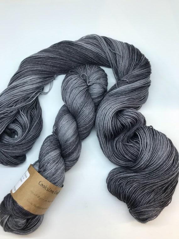 Granite - 100g superwash merino / nylon Sock Yarn 4 ply, fingering, hand dyed, tonal dark grey
