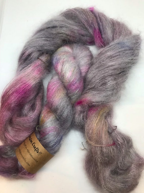 Granite Speckle - 50g Kid Mohair / Silk 72/28 % lace weight hand dyed in Scotland, grey, pink purple yellow variegated