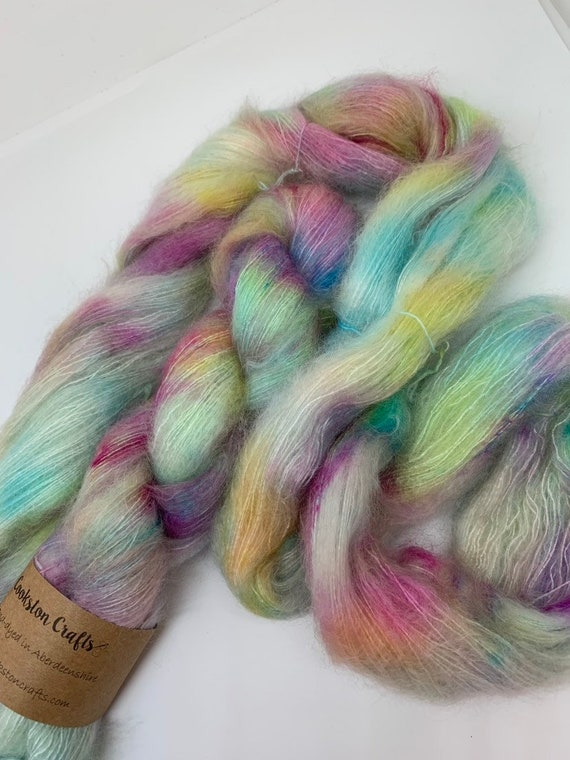 What Happens in Vegas....- 50g Kid Mohair / Silk 72/28 % lace weight hand dyed in Scotland, pink, purple, yellow, turquoise