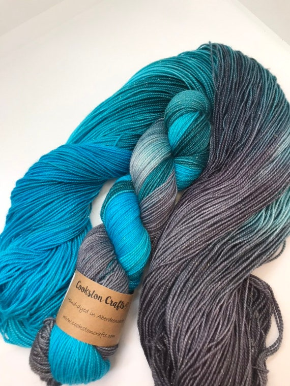 Warrior - 100g 75/20/5% SE Merino/ Nylon / gold Stellina, sock fingering 4 ply yarn, handdyed in Scotland, grey, turquoise, green, pmdd