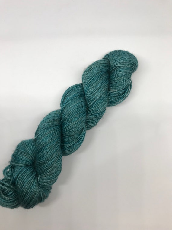Teal - 100g 60/20/20 Superwash Merino / Silk / Yak Sock Yarn 4 ply, fingering, hand dyed in Scotland, green