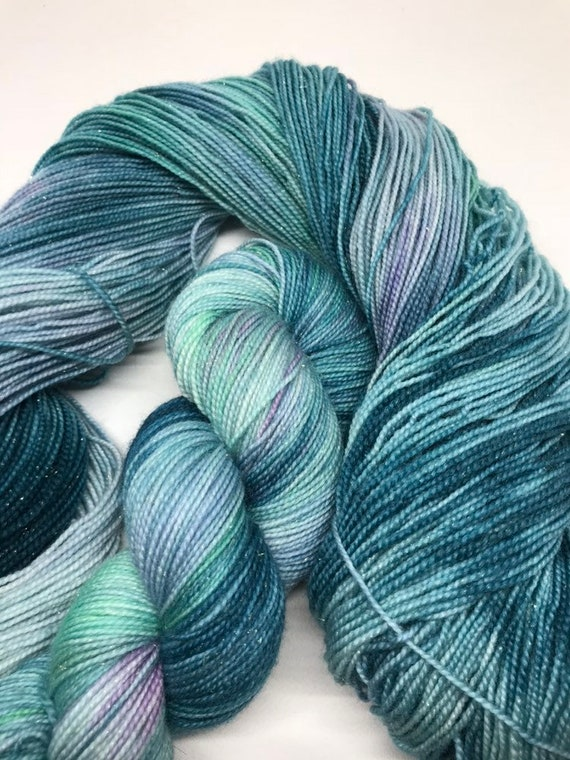 Anna - 100g Superwash Merino / Nylon / Silver Stellina Sparkle Sock Yarn 4 ply, fingering, hand dyed green, teal, purple, lilac Frozen
