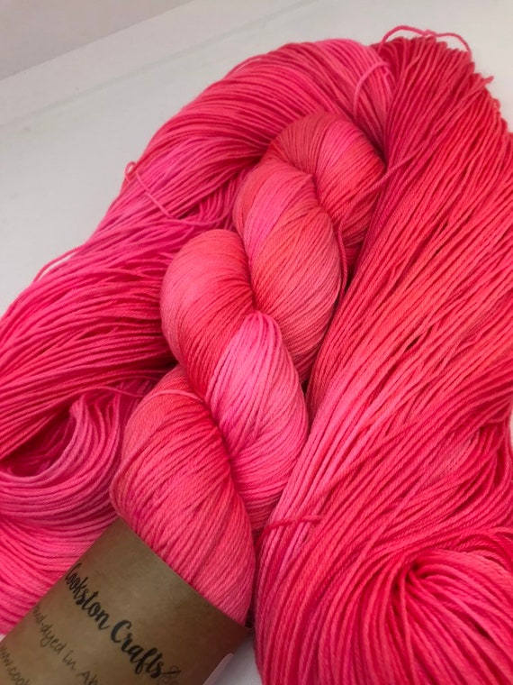 Neon Peony - 100g Superwash Merino / Nylon Sock Yarn 4 ply, fingering, hand dyed in Scotland, pink coral orange semi solid tonal