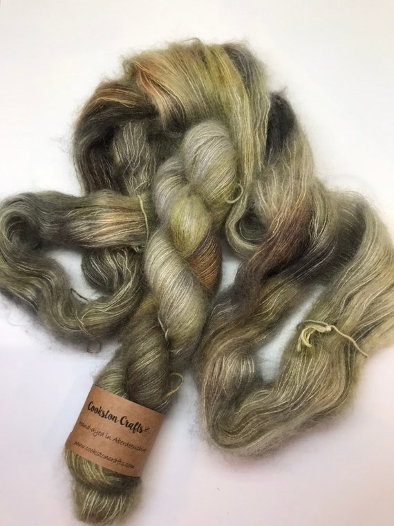 Murtagh - 50g Kid Mohair / Silk 72/28 % lace weight hand dyed in Scotland, grey, khaki, gold, brown outlander inspired