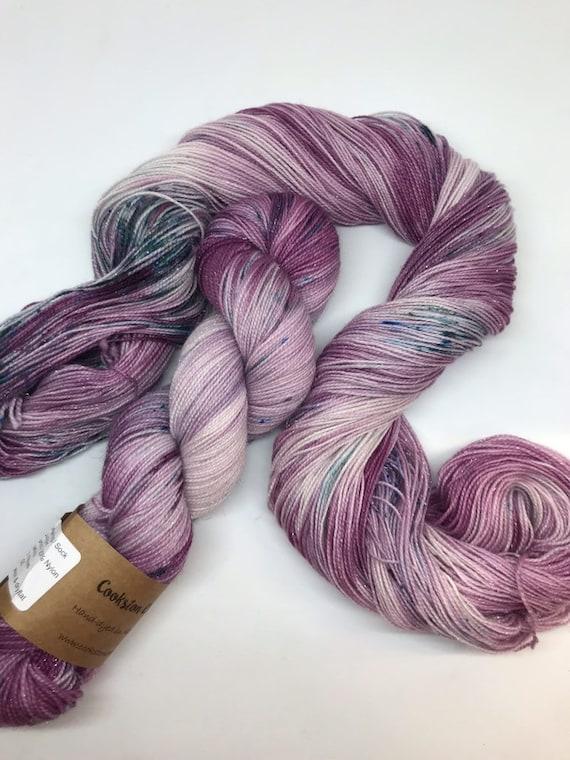 Juniper - 100g Superwash Merino / Nylon / Silver Stellina Sparkle Sock Yarn 4 ply, fingering, hand dyed teal, burgundy speckles