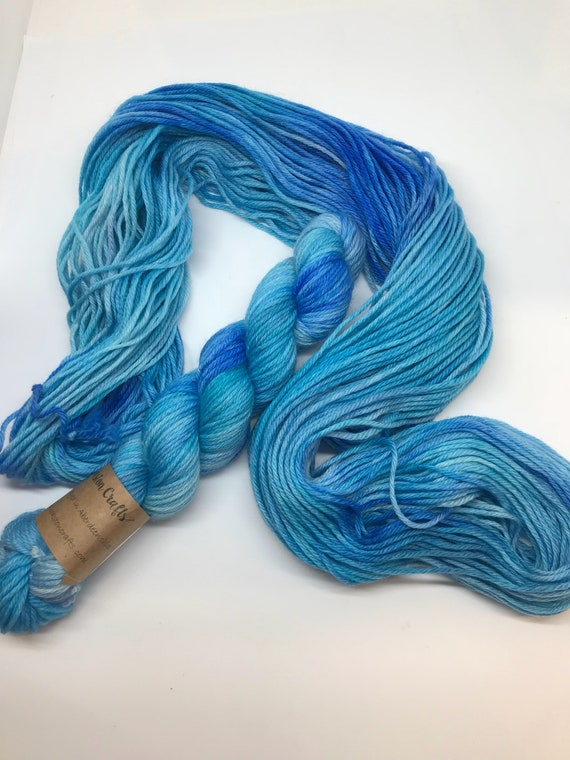Turquoise - 50g 100% Superwash Merino DK double knit yarn, hand dyed in Scotland, variegated