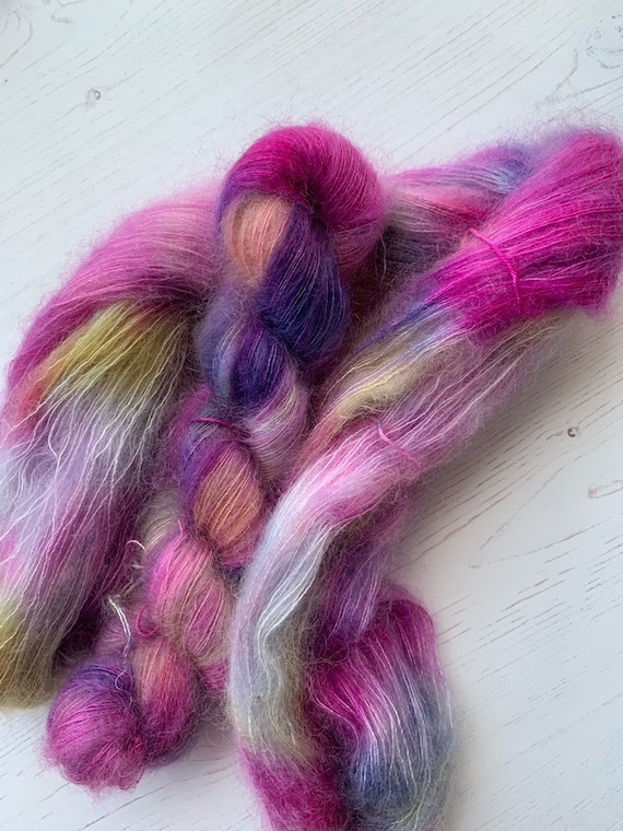 Ally Bally - 50g Kid Mohair / Silk 72/28 % lace weight hand dyed in Scotland, pink, blue, yellow