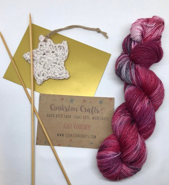 Cookston Crafts, 20 Pound Gift Voucher.  Can be used for any hand dyed yarn, kits or workshops. Valid for 6 months from date of purchase.
