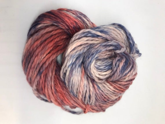 Joules - 100g Baby Alpaca  Chunky / Bulky Yarn, hand dyed in Scotland, navy and coral, so soft and squishy!