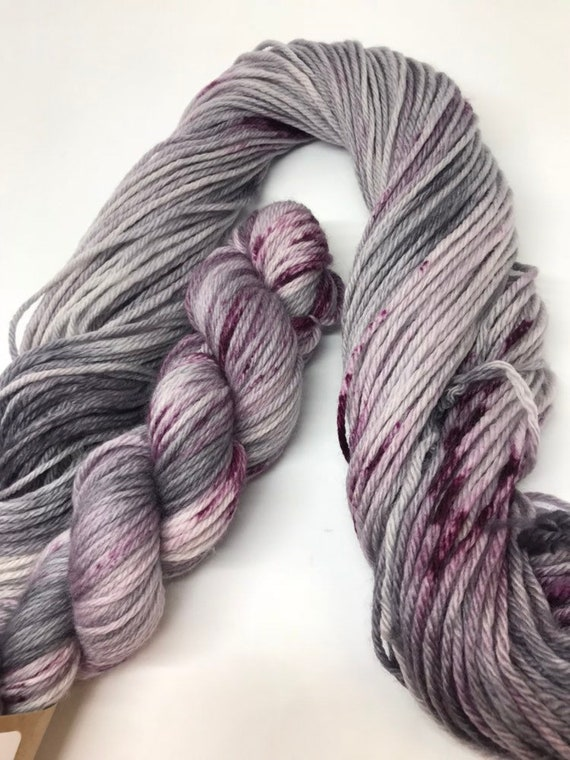 Pluto - 50g 100% Superwash Merino DK double knit yarn, hand dyed in Scotland, variegated speckles grey purple
