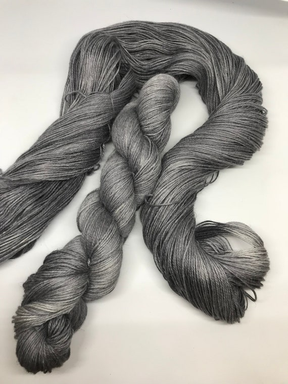 Granite - 100g 50/25/25 Baby Alpaca / Silk / Linen Sock Yarn 4 ply, fingering, hand dyed in Scotland, grey tonal