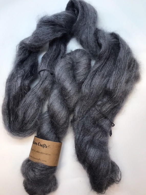 Granite - 50g Kid Mohair / Silk 72/28 % lace weight hand dyed in Scotland, dark grey tonal