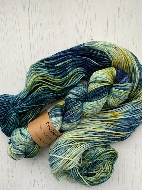 The Starry Night- 100g 75/25% Superwash Merino/ Nylon , DK double knit yarn, hand dyed in Scotland, petrol blue, navy, mustard yellow speckl