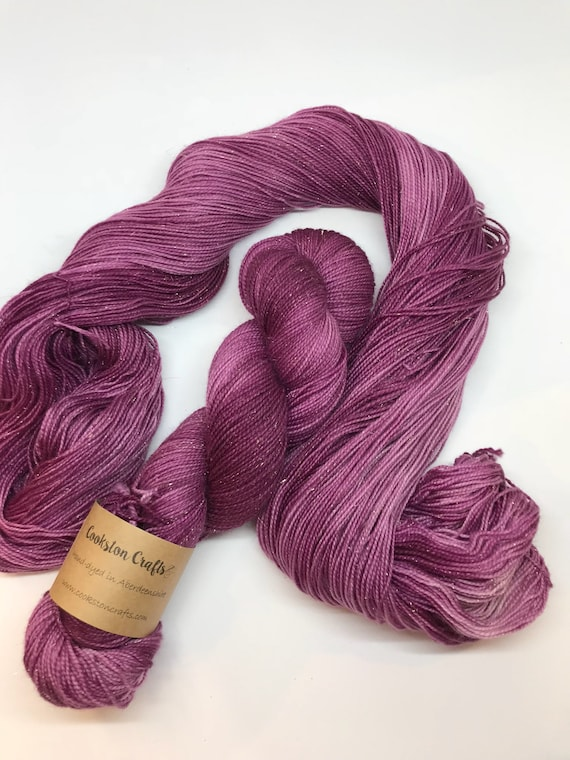 Malbec - 100g Superwash Merino / Nylon / Gold Stellina Sparkle Sock Yarn 4 ply, fingering, hand dyed, burgundy , wine, purple