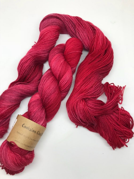 "100g British Blue Faced Leicester Yarn 4 ply, fingering, sock, hand dyed in Scotland, ""The Don"" red, burgandy, maroon"