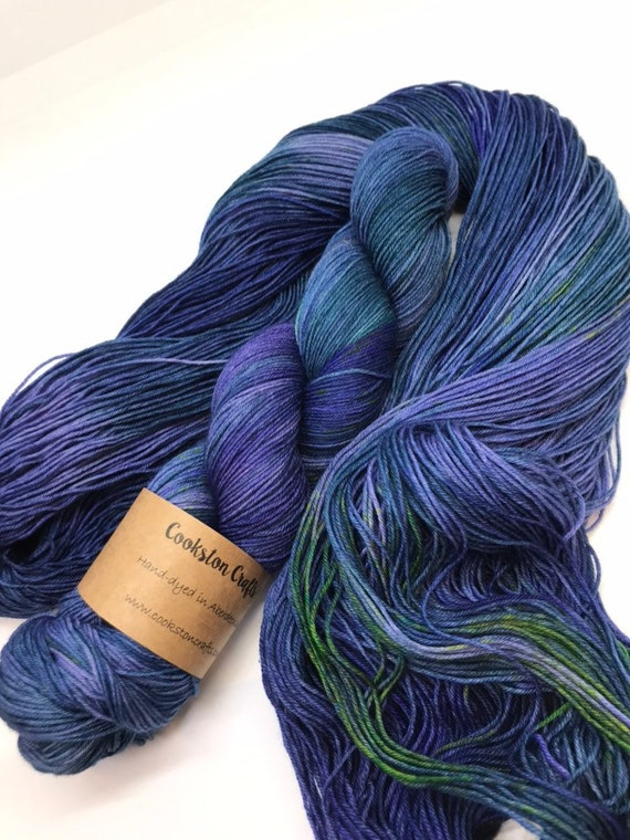 Rock pool - 100g Superwash Merino / Nylon Sock Yarn 4 ply, fingering, hand dyed in Scotland, blue purple yellow tonal variegated