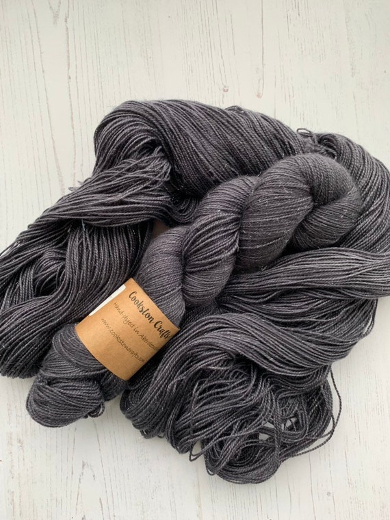 Granite - 100g Superwash Merino / Nylon / Silver Stellina Sparkle Sock Yarn 4 ply, fingering, hand dyed, grey, semi solid