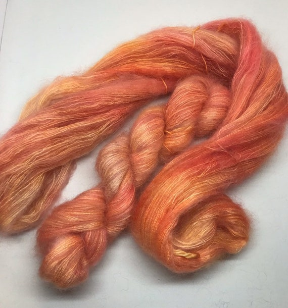 Blush - 50g Kid Mohair / Silk 72/28 % lace weight hand dyed in Scotland, peach orange pink variegated